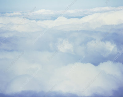 Aerial view of the tops of cumulus clouds