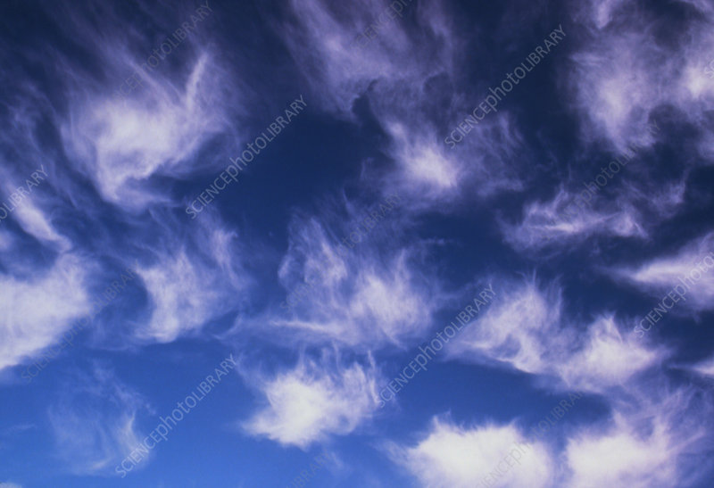 Plumes of cirrus cloud in the sky