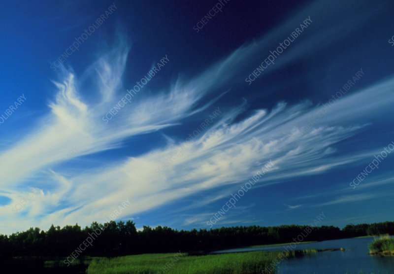 Plumes of cirrus cloud in a jetstream