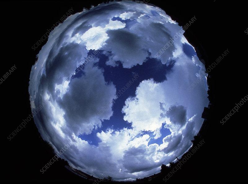 Fisheye lens view of cloud cover