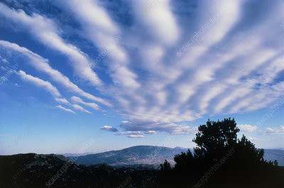 Banded stratocumulus clouds over mountains