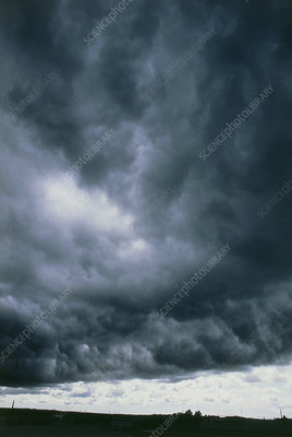 Cumulonimbus storm cloud seen from below