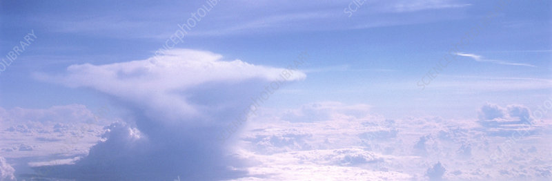 Aerial view of a cumulonimbus storm cloud.