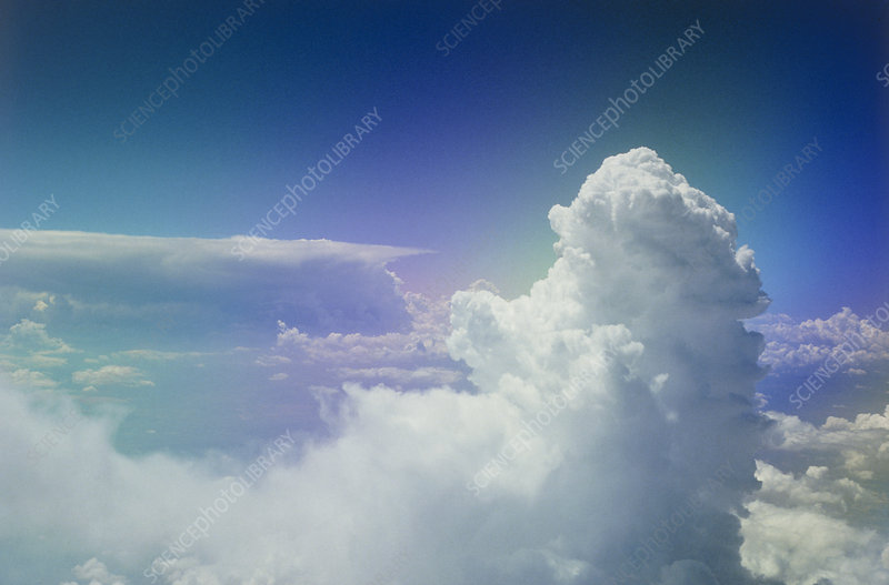 Cumulonimbus clouds seen from aircraft window