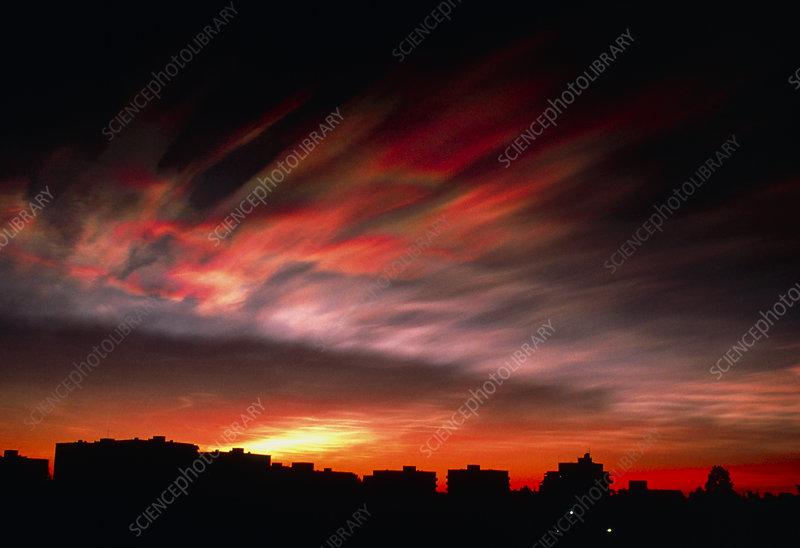 View of a nacreous cloud at sunset