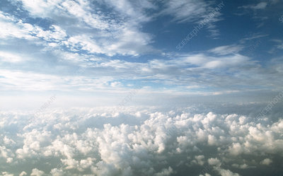 View of stratocumulus clouds over cumulus clouds