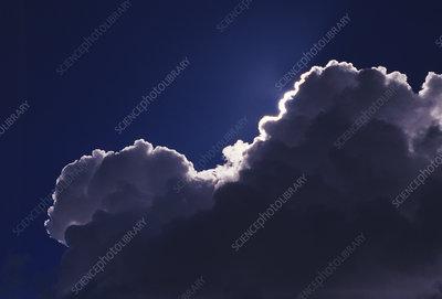 Cumulus cloud covering the sun