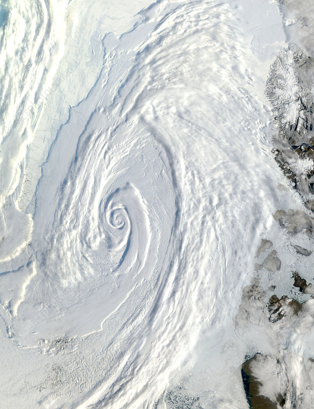 Low pressure system over the Arctic Ocean