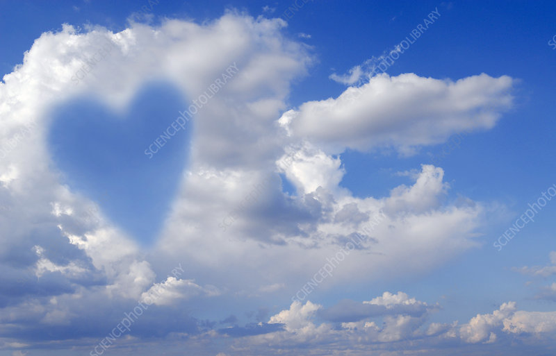 Heart shape in clouds, conceptual image