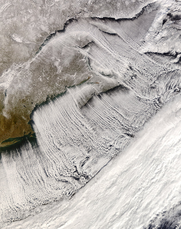 Coastal cloud streets, satellite image
