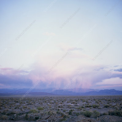 View of distant rainfall over Death Valley, USA