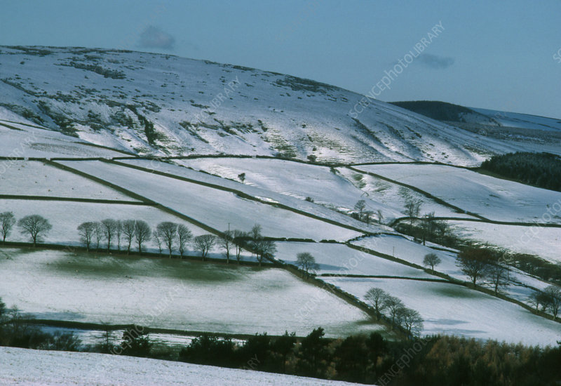 Peak district with light covering of snow