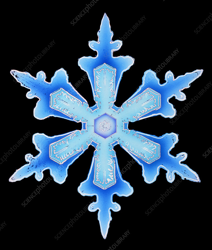 Colour-enhanced image of snowflake from resin cast