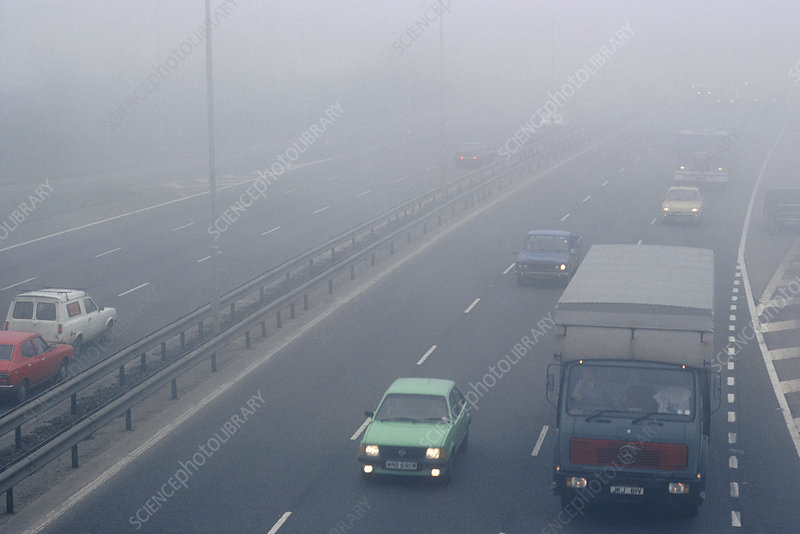 Fog on the M4 motorway at Heston