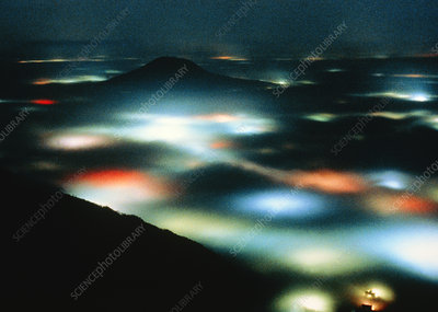 Fantastic landscape created by fog & public light
