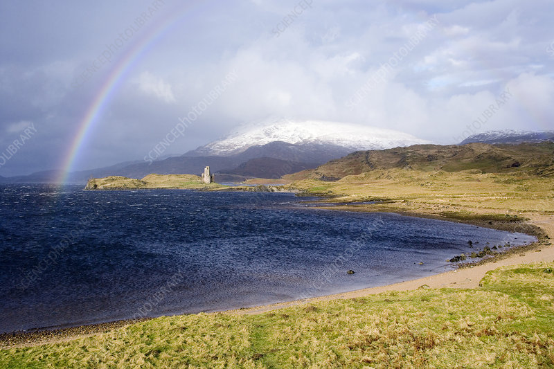 Rainbow over Ardveck Castle, Scotland