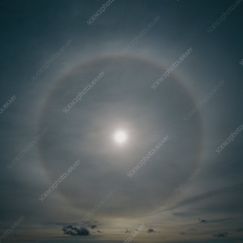 A 22 degree ice halo around the Sun