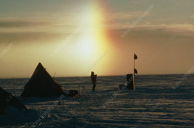 Sundog behind camp on ice stream, Antarctica.