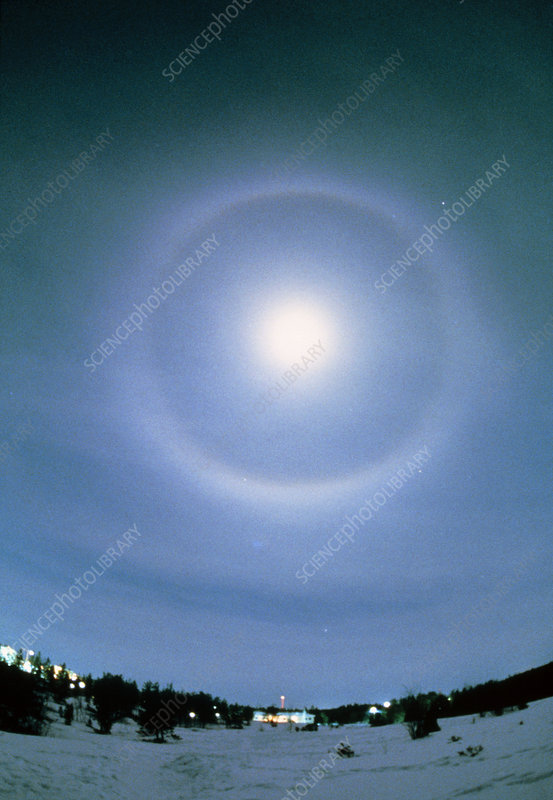 22-degree halo around the Moon