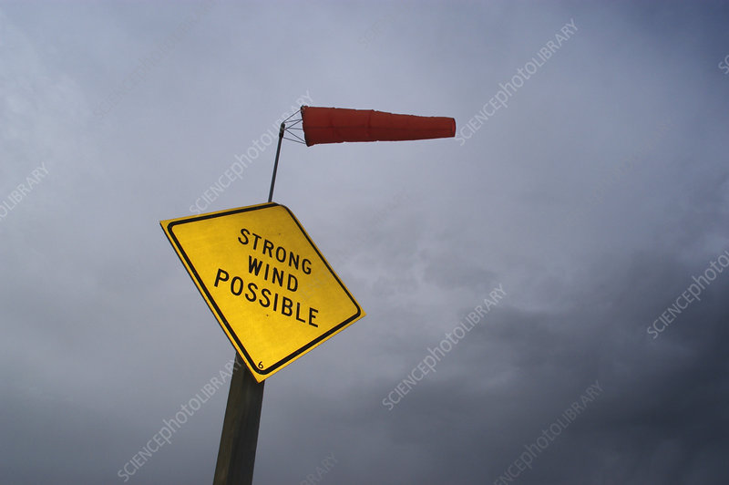 Wind sock and warning sign
