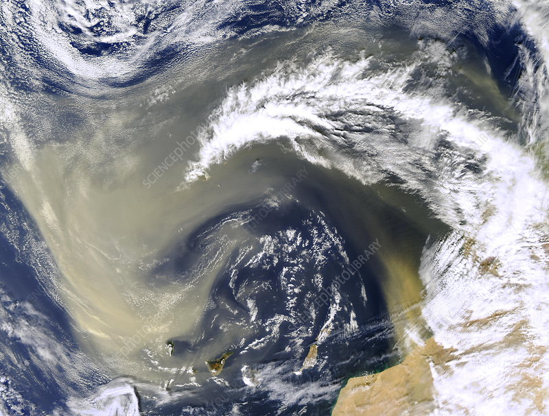 Dust storm over the Canary Islands