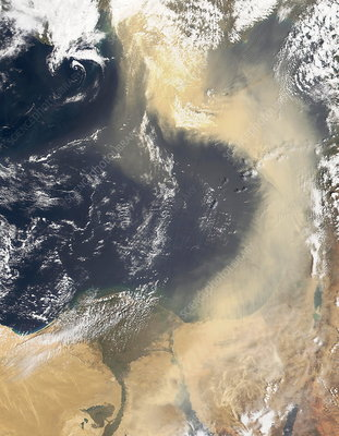 Dust plume crossing the Mediterranean