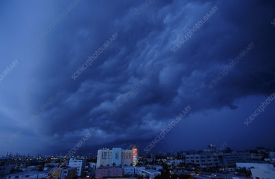 Storm clouds in South Beach, Florida