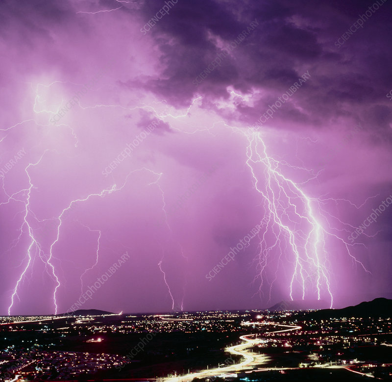 Summer ligtning storm over Tucson, USA