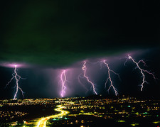 Lightning over Tucson, Arizona.
