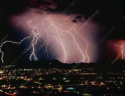 Lightning over Tucson, USA