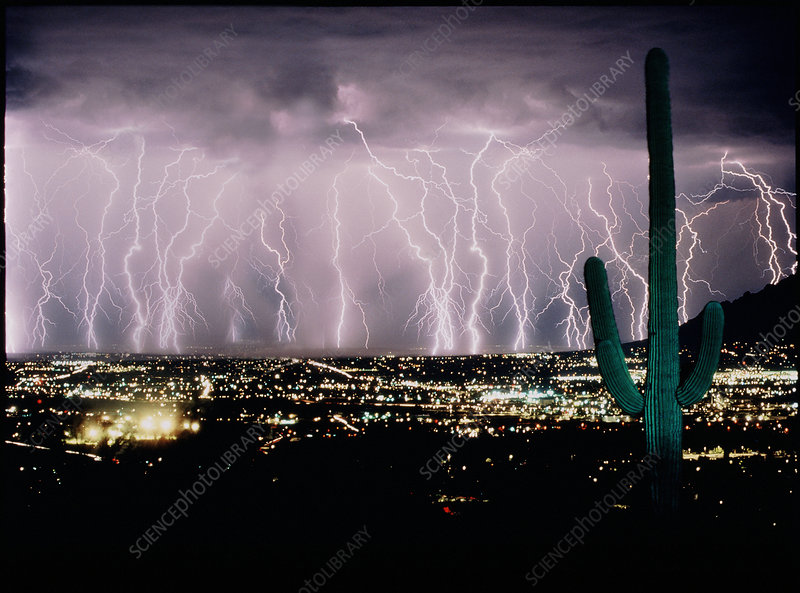 Multiple lightning strikes - digitally enhanced