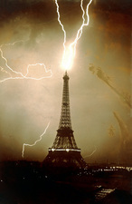 Lightning bolts striking the Eiffel Tower, France