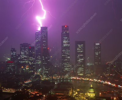 Lightning bolt strikes a skyscraper