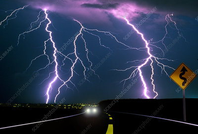 Lightning and Car