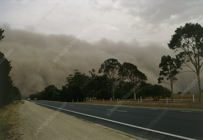 Dust storm over a road
