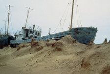 Beached fishing boat in Aral Sea