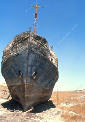 Aral sea drought, beached boat
