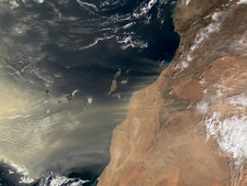 Sand storm over Canary Islands