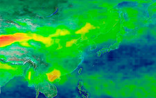Asian dust storm, satellite image