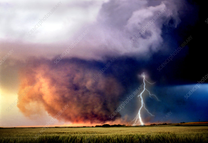 Tornado and Lightning in a Field