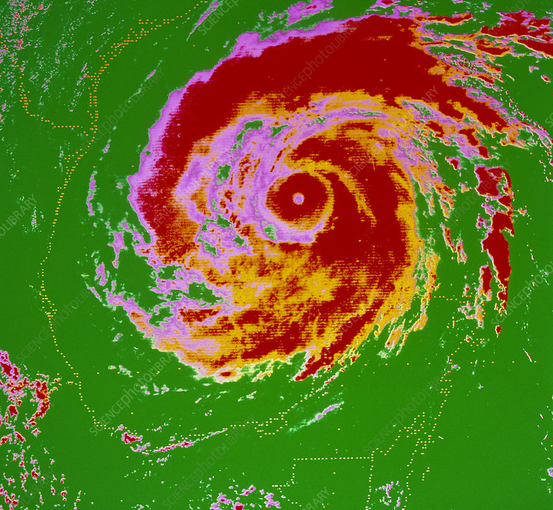 False-col weather satellite pic of Hurricane Allen