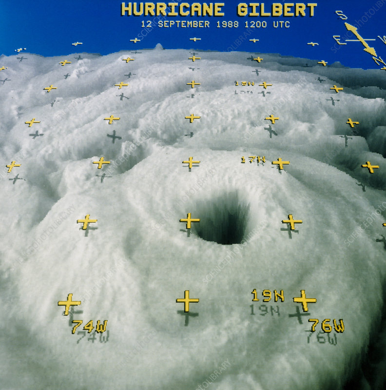 Computerised satellite image of Hurricane Gilbert