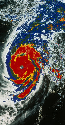 Infrared NOAA image of 1991 typhoon, Bangladesh