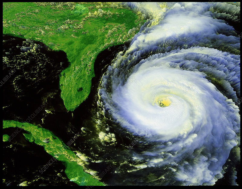 Satellite view of hurricane Fran near USA