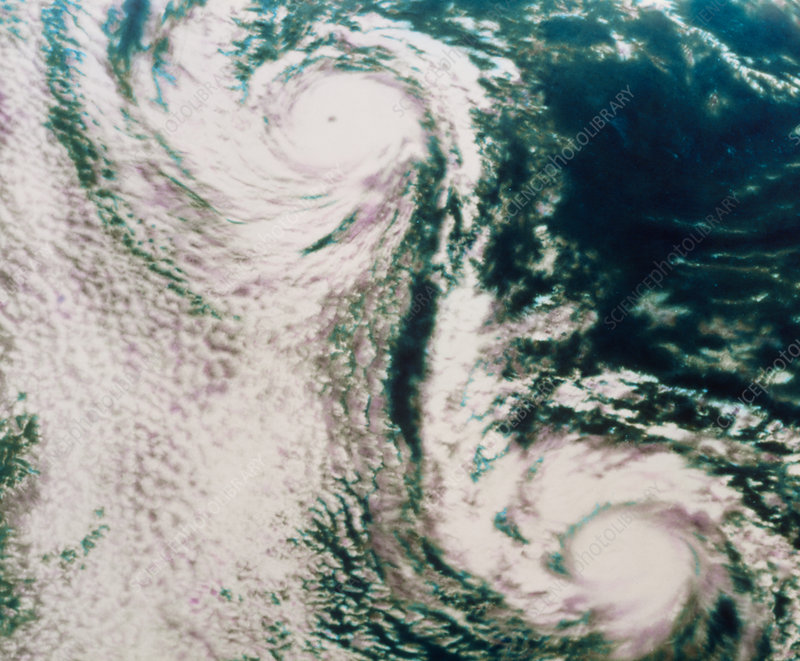 NOAA satellite image of twin hurricanes
