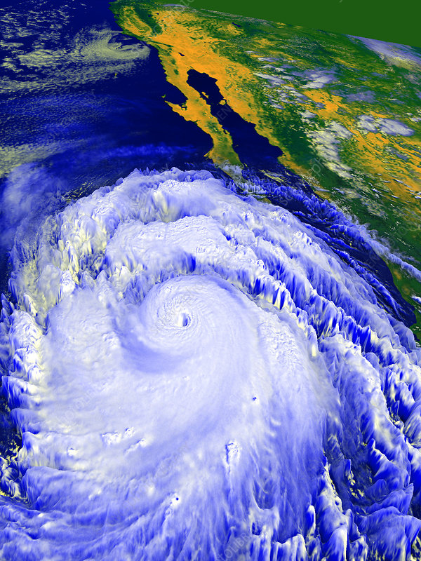 Coloured satellite image of Hurricane Linda