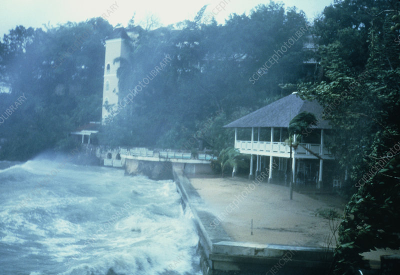 Sea battering the coast during a hurricane,Jamaica