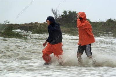 Local residents escaping Hurricane Isabel, USA