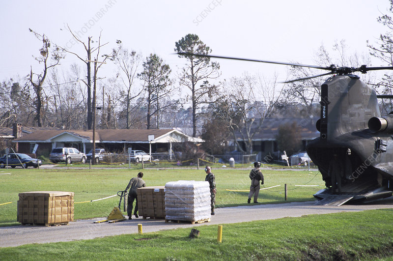 Army delivering supplies after Katrina