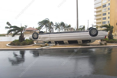 Overturned car after hurricane Wilma